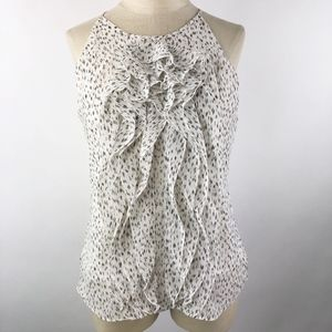 Ann Taylor Women's Ruffle Blouse White/Black 10P